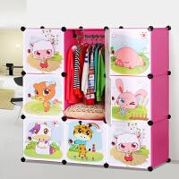 索尔诺卡通衣柜简易儿童 宝宝婴儿收纳柜组合塑料树脂组装衣橱衣柜