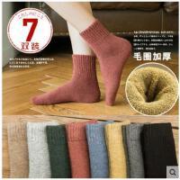 袜子女冬韩版加厚保暖加绒冬天纯棉中筒袜冬天毛巾袜地板毛圈女袜