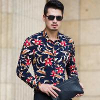 春秋季新款中年男士长袖花衬衫时尚都市潮男眼镜帅哥加大尺码衬衣