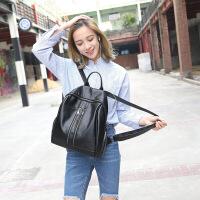 包包女2018秋冬款时尚潮流双肩包女大容量旅行背包洛 黑色