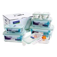 Glasslock 三光云彩�n���M口�化玻璃保�r盒玻璃便��盒�菜盒收�{盒�Y品七件套GL09