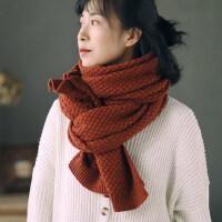 韩版纯色长款保暖围脖男女情侣款毛线围巾女针织钩花披肩