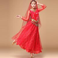 新款肚皮舞秋冬长袖套装 印度舞演出服 舞蹈表演长裙 均码
