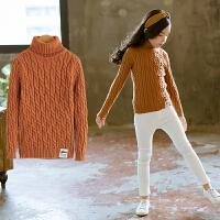 儿童毛衣秋冬女童高领中大童装针织打底毛衫洋气套头毛衫