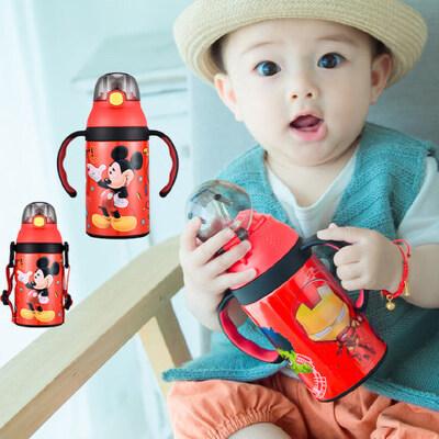 迪士尼吸管杯婴儿学饮杯带宝宝手柄保温杯喝水杯子防摔漏儿童水壶 一杯双用 感温变色 防漏抗摔