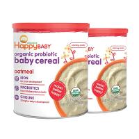 保税区/直邮 HappyBaby禧贝 2段有机燕麦米粉 钙铁锌 婴幼儿辅食 198g*2罐 海外购