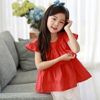 女童上衣夏 短袖 时尚公主韩版女孩红色t恤娃娃衫中大童宽松衬衫