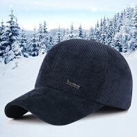 新款男士帽子冬季保暖灯芯绒加厚防寒帽中老年护耳棒球帽