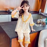 夏季儿童家居服短袖针织棉薄款空调服女孩睡衣中大童10岁宝宝套装