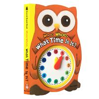 Sound Board Book:Whoo Whoo,What Time Is It? 哇哦,这是什么时间?儿童发声书蓝兔时钟书 0-3岁幼儿早教认知洞洞书 宝宝早教益智有声绘本 婴儿启蒙纸板书