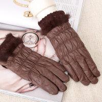 女冬天保暖韩版电容屏加厚防风御寒兔毛蕾丝触控羽绒手套