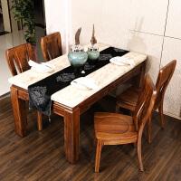 全新中式实木家具乌金木餐桌椅餐厅长方形餐台饭桌子1桌4椅