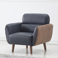办公沙发茶几组合现代简约会客室接待洽谈休息区创意木纹皮沙发