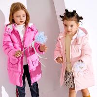 小猪班纳儿童宝宝羽绒服女童连帽羽绒外套长款冬新款厚