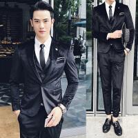 西服套装男士韩版修身商务休闲西装三件套秋季新郎结婚礼服职业装