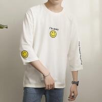 港风刺绣男士T恤夏装潮流情侣七分袖韩版简约大码半截袖