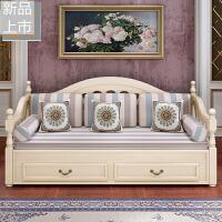 欧式沙发床实木可推拉坐卧两用单双人多功能可折叠小户型沙发床定制 1.8米-2米