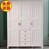 式实木衣柜白色衣橱卧室两门三门四门五门平开门衣柜整体定制 5门 组装