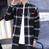 2019港风格子男长袖衬衫帅气潮流青少年衬衣潮