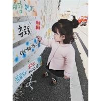女童棉衣2017冬装新款女宝宝翻领加厚棉袄小女孩纯色保暖外套