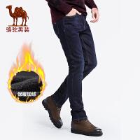 骆驼男装 秋冬新款牛仔裤男士加绒加厚男裤中腰直筒保暖裤子