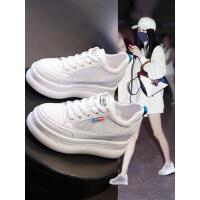 户外内增高小白鞋女韩版厚底百搭透气网面休闲运动松糕鞋