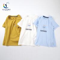 彩桥 儿童T恤纯棉儿童打底衫中大童短袖背心家居服 男童t恤