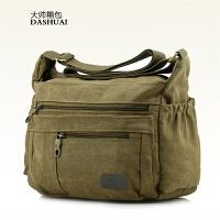 精品男包帆布男士休闲包包单肩包斜跨背包横款简约4多功能斜挎包SN6237 黑色