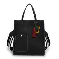 秋季女包单肩包大包潮女时尚新款简约百搭大容量托特包手提包 黑色 送字母挂件