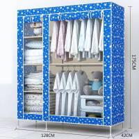 新款简易布衣柜钢架款加粗钢管牛津布衣橱大容量衣架单人双人衣柜 1325K星星