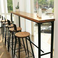 实木吧台桌高脚桌家用靠墙窄桌子现代简约小户型隔断吧台高桌定制 组装 支架结构