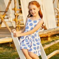 【2件3折价:76】小猪班纳童装女童连衣裙2020夏季新款中大童露肩吊带裙儿童裙子棉