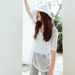THE NEXT2018夏装新款纯色简约字母织带拼接网布T恤女N733