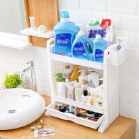卫生间置物架 多层储物架落地抽屉收纳架子洗手间桌面双层塑料置物架