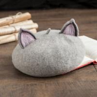 手工定制画家帽创意萌系公主帽韩版可爱猫耳朵羊毛呢贝雷帽