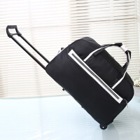 纯色拉杆包男女大容量行李包女登机拉杆箱旅行袋旅行包手提旅游包 黑色 拉杆68 大