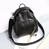 双肩包女韩版潮新款百搭软皮背包书包时尚休闲旅行女包包小包 黑色