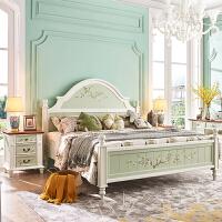 美式实木双人床彩绘卧室床地中海风格家具15米韩式田园公主床 +床垫*1 1800mm*2000mm 气压结构