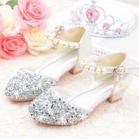 女童凉鞋夏季儿童包头表演水晶鞋中大童钢琴小高跟公主鞋