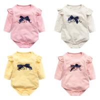 婴儿连体衣服宝宝新生儿季0岁7个月睡衣长袖2三角哈衣冬季