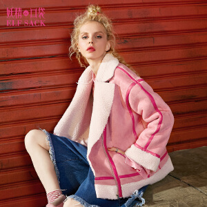 【尾品汇大促】妖精的口袋莎翁全集冬装新款宽松麂皮绒羊羔短款毛呢外套女