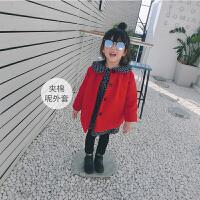 2017冬装新款女童红色夹棉呢外套小童宝宝中长款呢子大衣潮