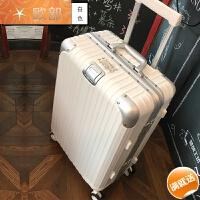 铝框拉杆箱旅行箱包行李箱万向轮男女20密码登机箱24/26/29寸复古 白色 高档铝框款