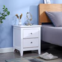 美式实木床头柜北欧轻奢简易彩色床边小置物架卧室简约现代收纳柜 整装