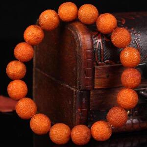 蜜蜡 满蜡老蜡回纹珠手串  直径11mm