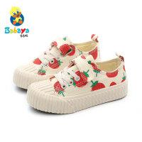 【89元2双】芭芭鸭童鞋儿童帆布鞋女童草莓鞋男童板鞋2019新款秋季布鞋饼干鞋