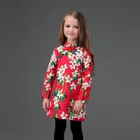 2018秋冬新款女童长袖旗袍民族古筝表演儿童红色裙圣诞节新年*