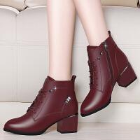 冬鞋女短靴2017秋冬季新款加绒马丁靴复古百搭皮靴英伦风粗跟靴子