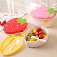 日式迷你草莓小饭盒儿童可爱双层便当盒学生便携餐盒水果盒子塑料