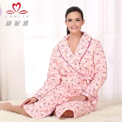 康妮雅冬季新款家居服浴袍 女士甜美花朵图长袖夹棉睡袍先领卷后购物 满399减50